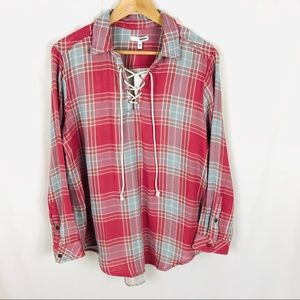 Sonoma Plaid popover shirt long sleeve pullover